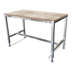 Table de découpe réglable par pédale dessus bois