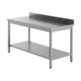 Table démontable inox AISI 304  dosseret + étagère
