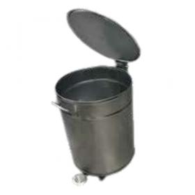 Bac à déchets inox roulant  couvercle à fermeture amortie 50 litres