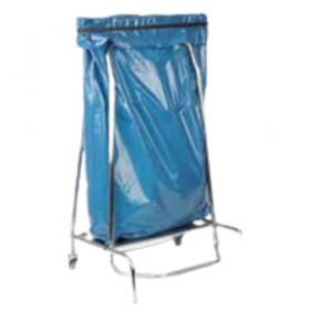 Support inox roulant pour sac poubelle