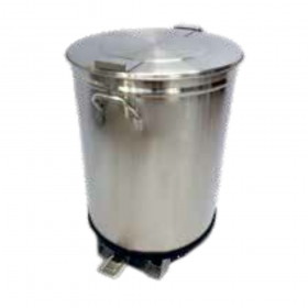 Bac à déchets inox roulant à pédale 50 litres